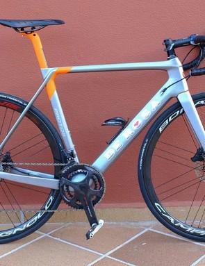 My Super Record mechanical shifting, hydraulic-disc brake bike was this De Rosa Protos
