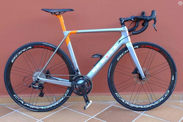 My Super Record mechanical shifting, hydraulic-disc brake bike was this De Rosa Protos