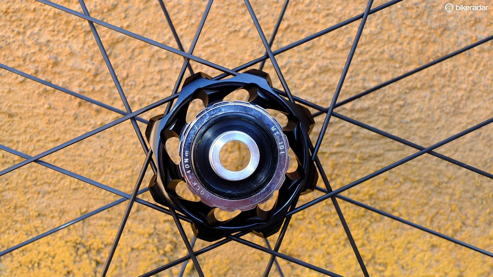 The disc brake hubs have 12mm thru-axles and use Campy's 2:1 spoking pattern