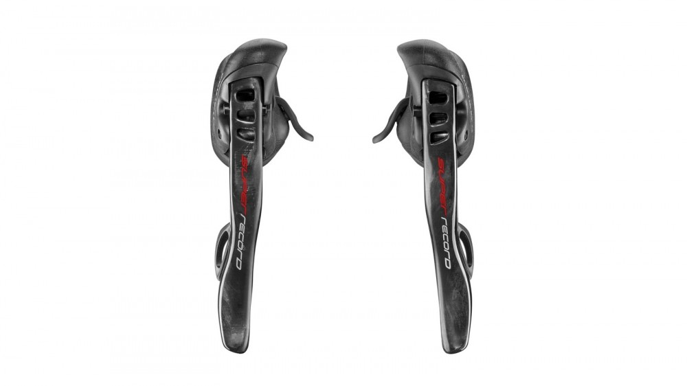 Super Record EPS 12-speed rim brake levers extend higher in to the body