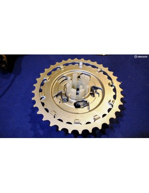 The six largest sprockets are manufactured as two one-piece, three sprocket, steel parts with a durable coating applied