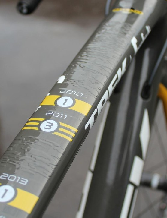 Trek made Cancellara a special frame with textured cobbles and his Flanders results on the top tube