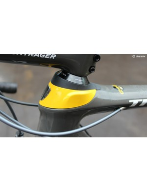 Part of the bike's big news is the Front IsoSpeed, where the steerer pivots inside the head tube, with bolts on either side preventing lateral movement but allowing the steerer to bow fore and aft