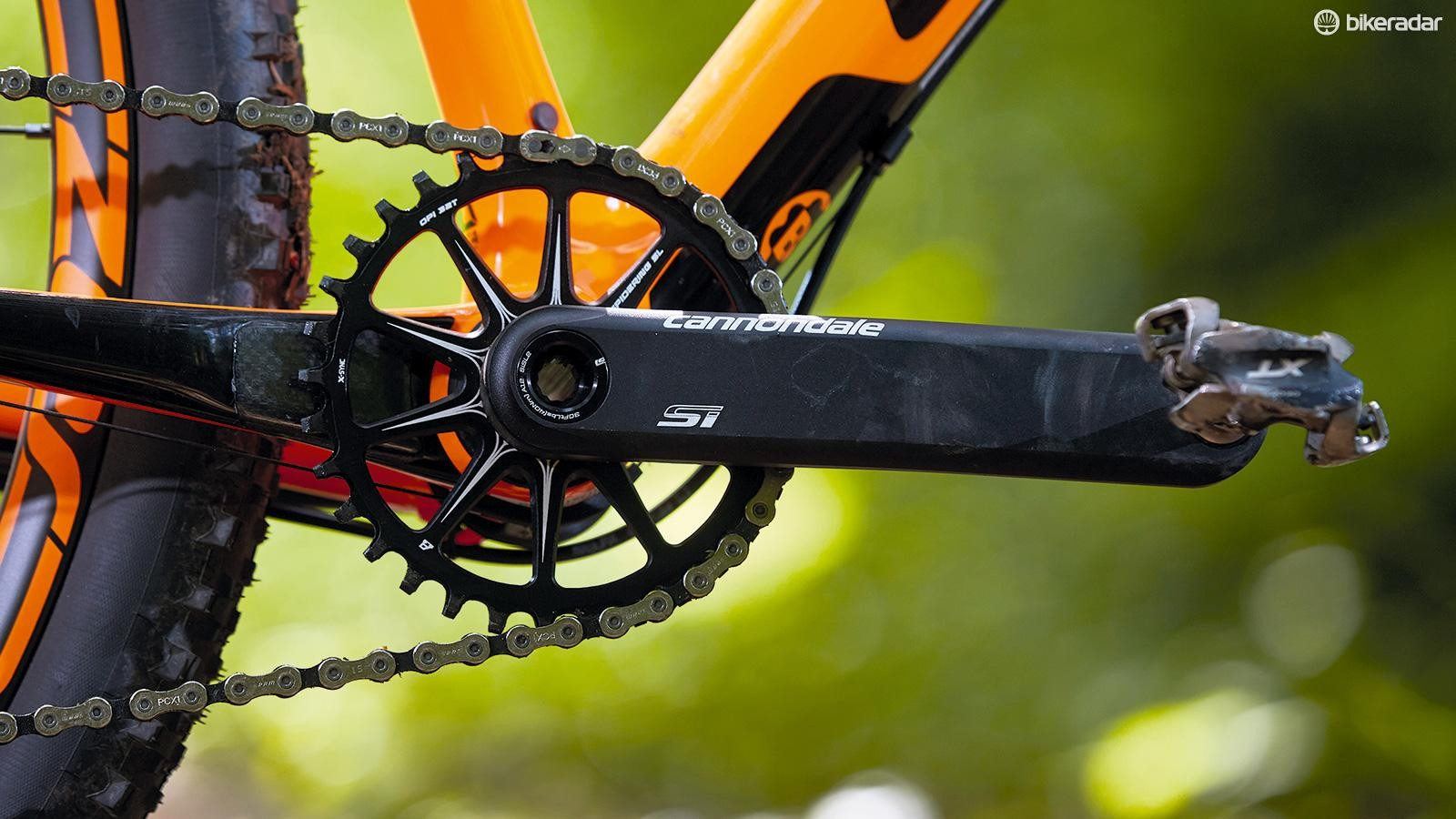 Cannondale's cranks are extremely lightweight and perform superbly