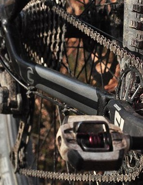 Shimano XT groupset is paired with a Cannondale crank