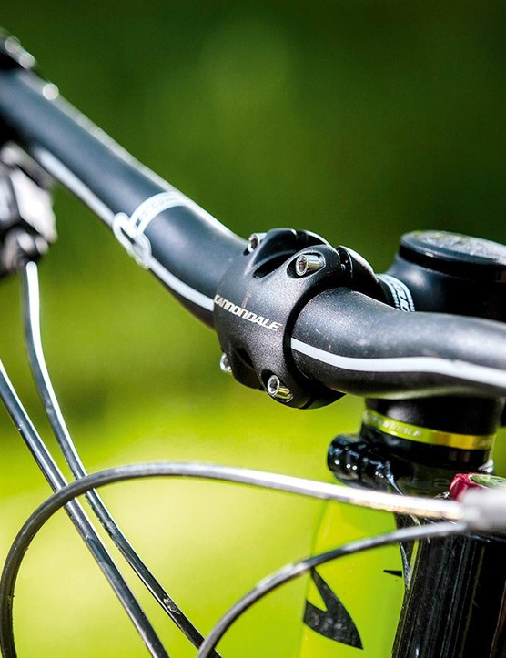 Steering precision comes partly from the stout bar/stem combo