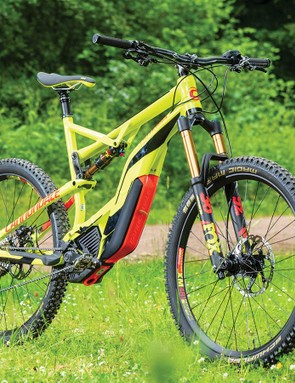 Most e-MTBs use 2.8in to 3.0in plus-size tyres to help put their power down, but Cannondale have specced narrower but tougher 2.35in Schwalbe rubber