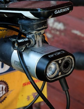 All racers are required to have front and rear lights on their bikes, as many riders finish well after sunset. King opted to use the Cycliq Fly12, which combines an HD camera with a 400-lumen headlight