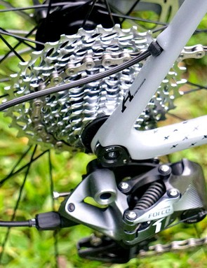 Exiting the seatstay means the cable passes through the top tube, which is unique in this test