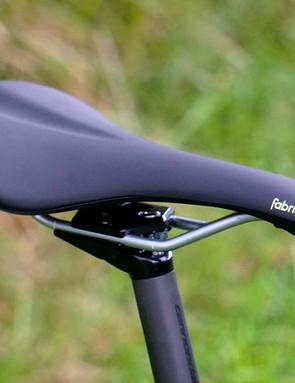 Cannondale's two-bolt carbon seatpost is super comfortable, but a bit cumbersome with its front bolt adjustment