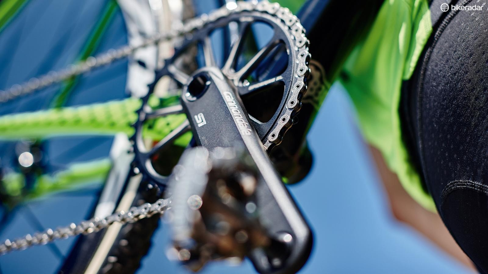 Our bike uses a Cannondale Si crank and SpideRing chainring with SRAM X-Sync wide-narrow tooth profiles