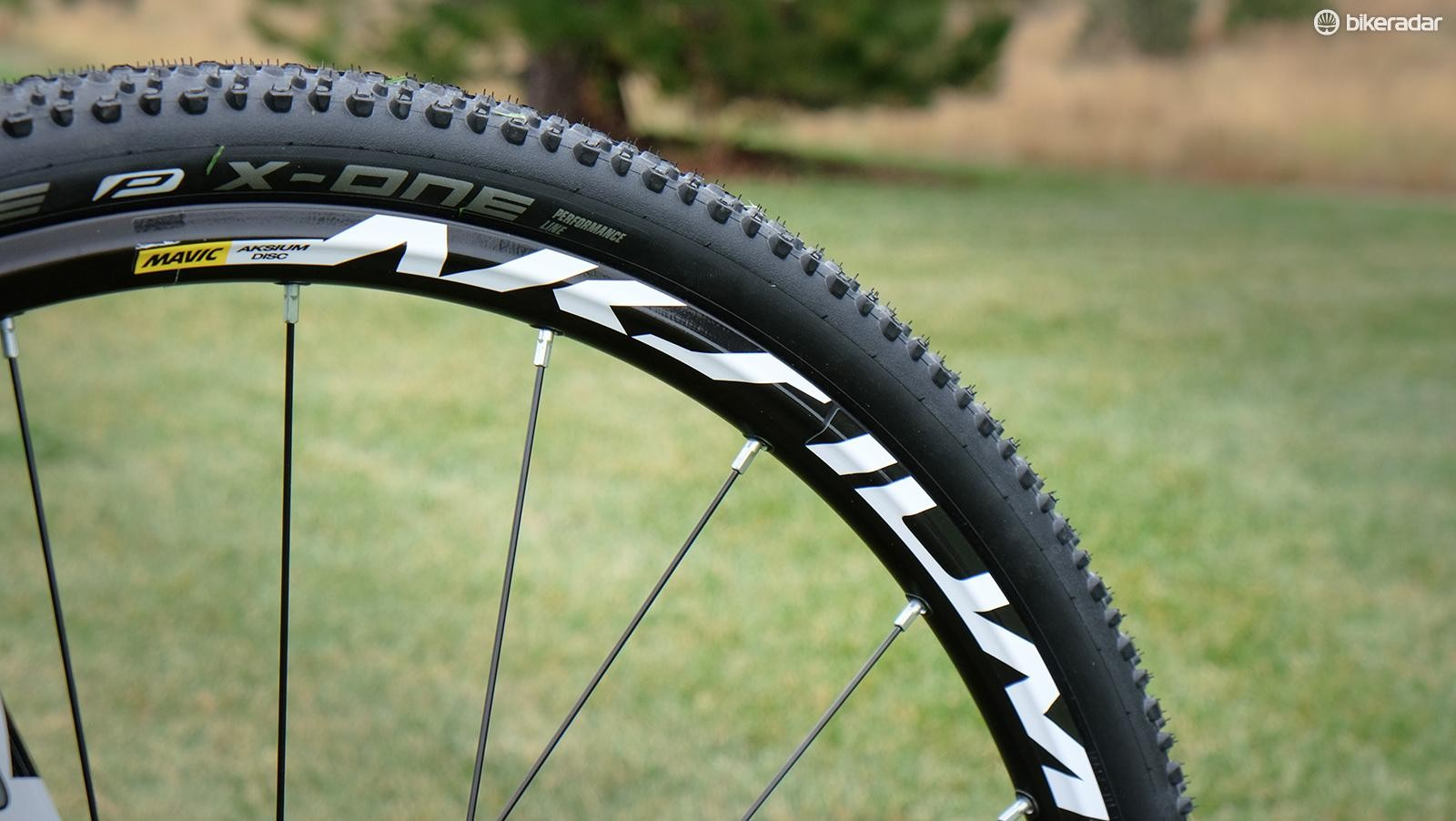 The stock tires perform well enough, but this bike really needs a tubeless-compatible set of wheels