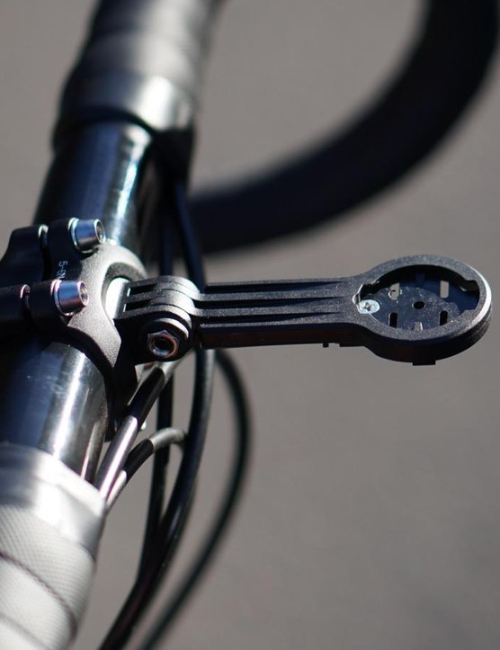 The integrated Garmin mount is a clean touch, although not as perfectly straight or rigid as a metal mount from K-Edge