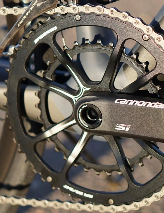 Cannondale's Hollowgram Si crank with Spider rings is hard to miss