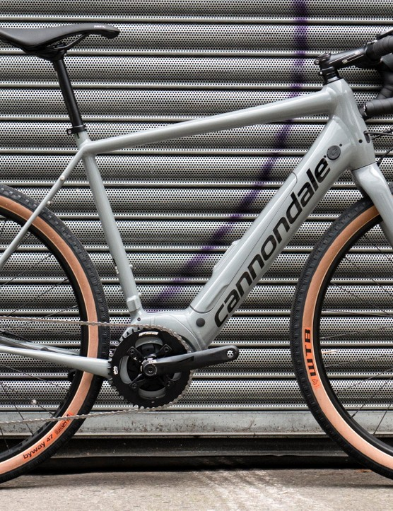 The tan wall tyres and grey paint make the bike look good