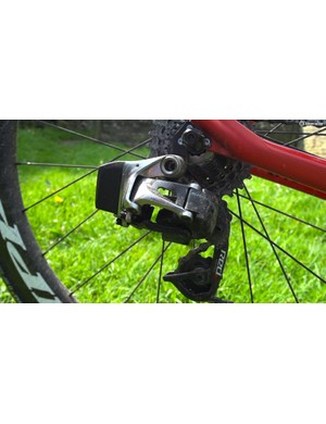 SRAM's eTap rear derailleur. The lack of metal wires or cables are still enough to prompt a double-take