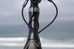 The aero benefits of the sculpted head tube are somewhat hampered by the hosing and cabling