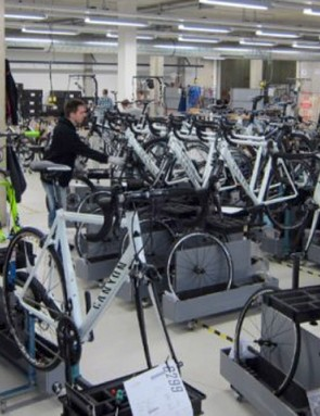 Canyon's bike assembly area, photographed by BikeRadar back in 2012