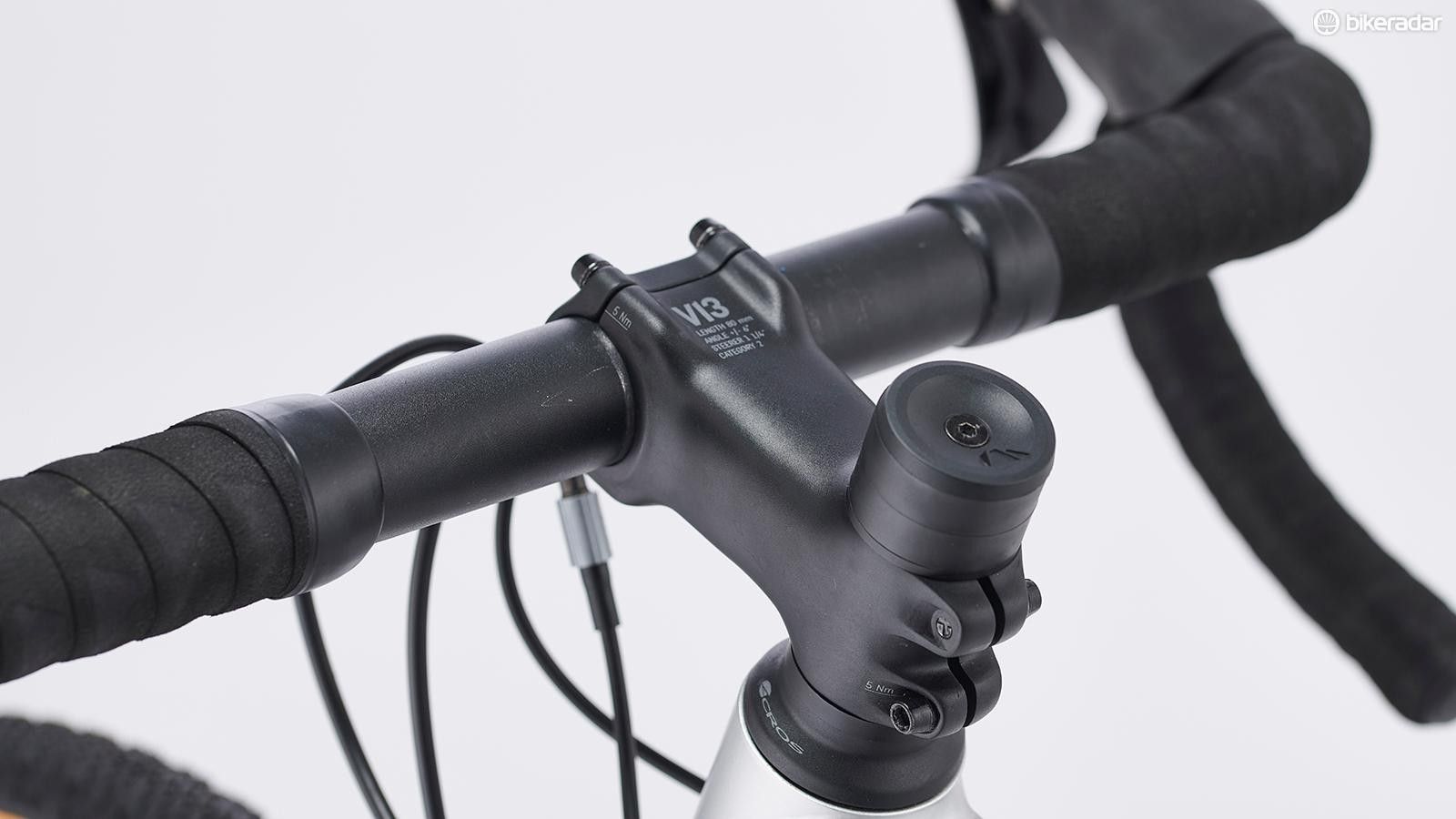 Canyon's gravel alloy handlebar is a little wider and has flared drops