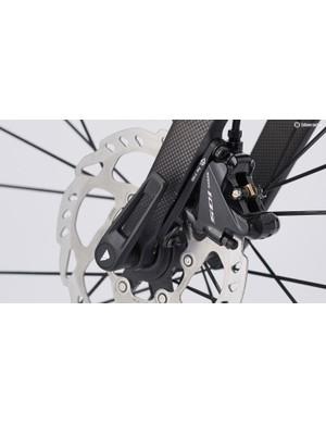 The Shimano 105 disc brakes
