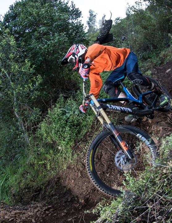 Chasing Fabien through tight switchbacks, the long wheelbase didn't seem to hold it back - it didn't slow Fabien down!