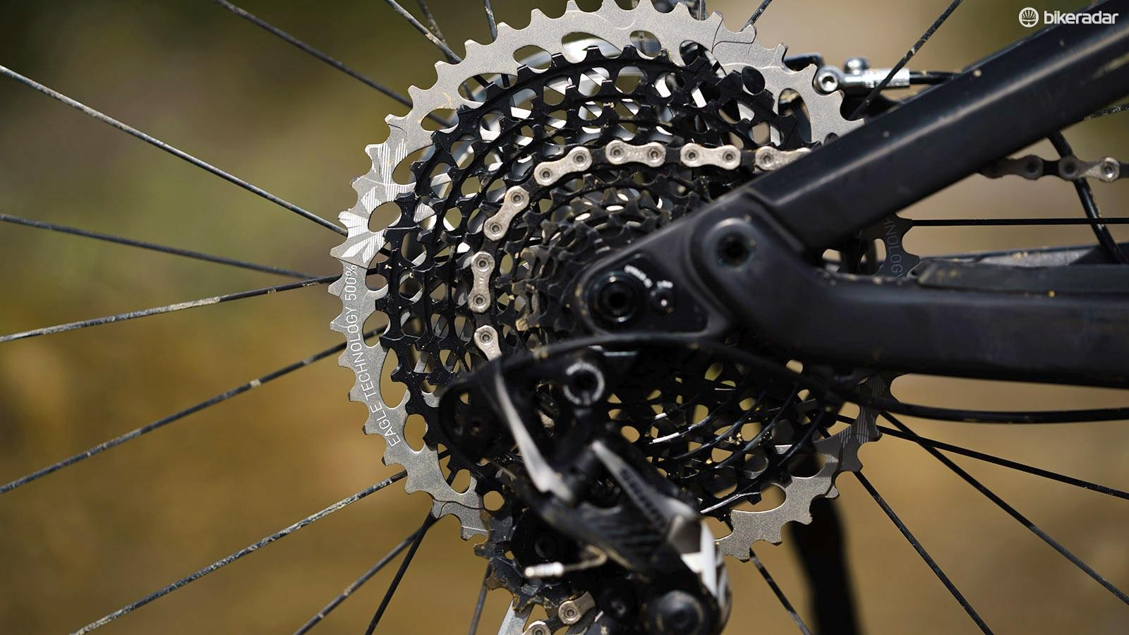 The Eagle cassette provides plenty of scope for spinning up long and steep climbs