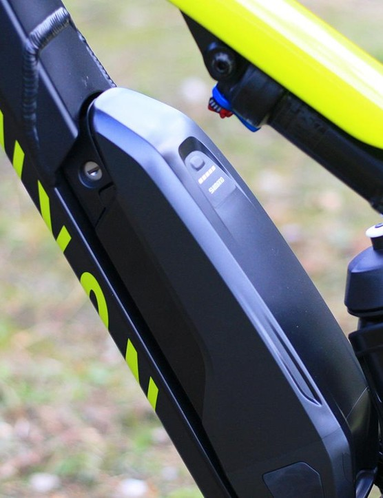 The Shimano battery is mounted reasonably low in the bike and slides out very easily