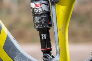 A RockShox Monarch RT3 140mm on the rear