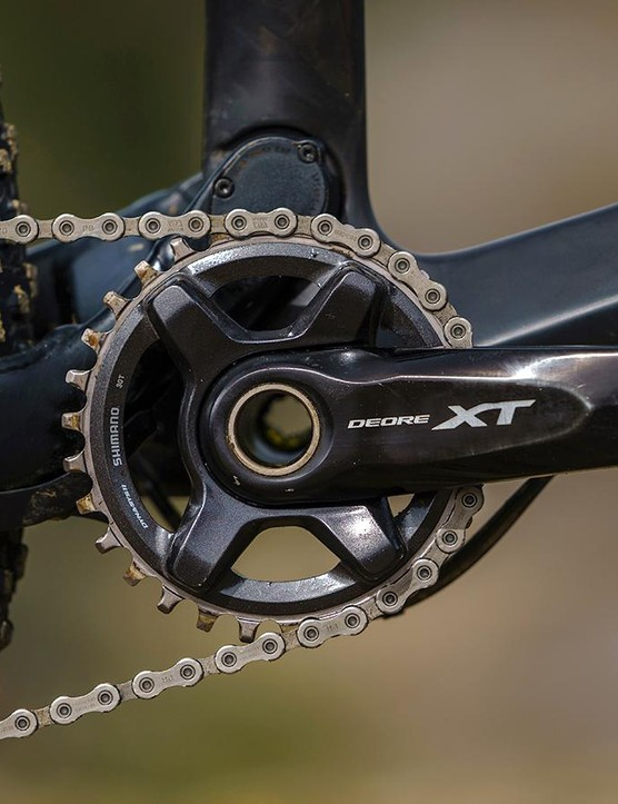 Shimano's XT drivetrain is still a decent match for the ever-present SRAM GX Eagle