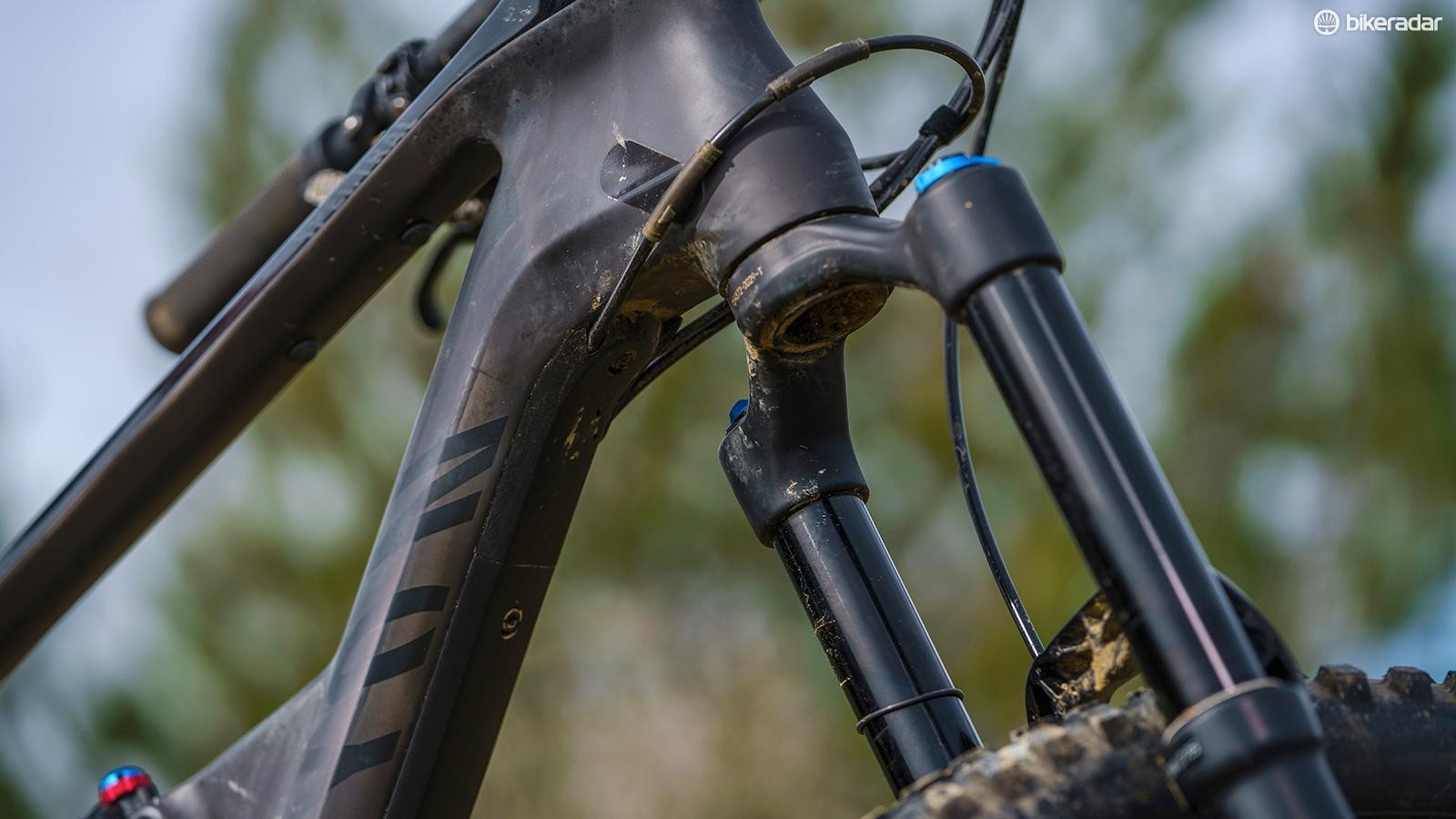 Canyon's frame detailing is among the best out there, including this neat down tube protector / cable guide