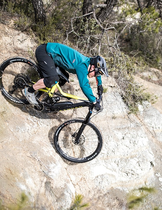 The weight of the motor and battery is low in the bike, giving confidence in steep terrain