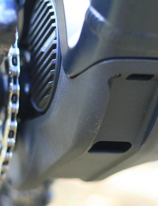 Canyon's own skid-plate is designed to protect the motor, and not hang up when you have to shimmy over trail obstacles