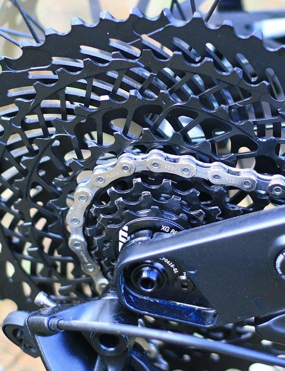 SRAM's EX1 8-speed e-MTB specific drivetrain might not be to everyone's taste, but shifting is crisp and accurate