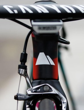 matched with an aero handlebar setup, the head tube features an hourglass shape for less frontal drag