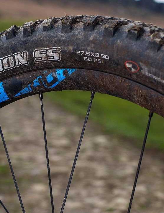 Top-grade Maxxis rubber adds to the Strive's trail authority