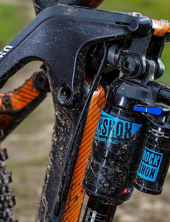 The shock is a RockShox Monarch Plus with three-position low-speed compression damping