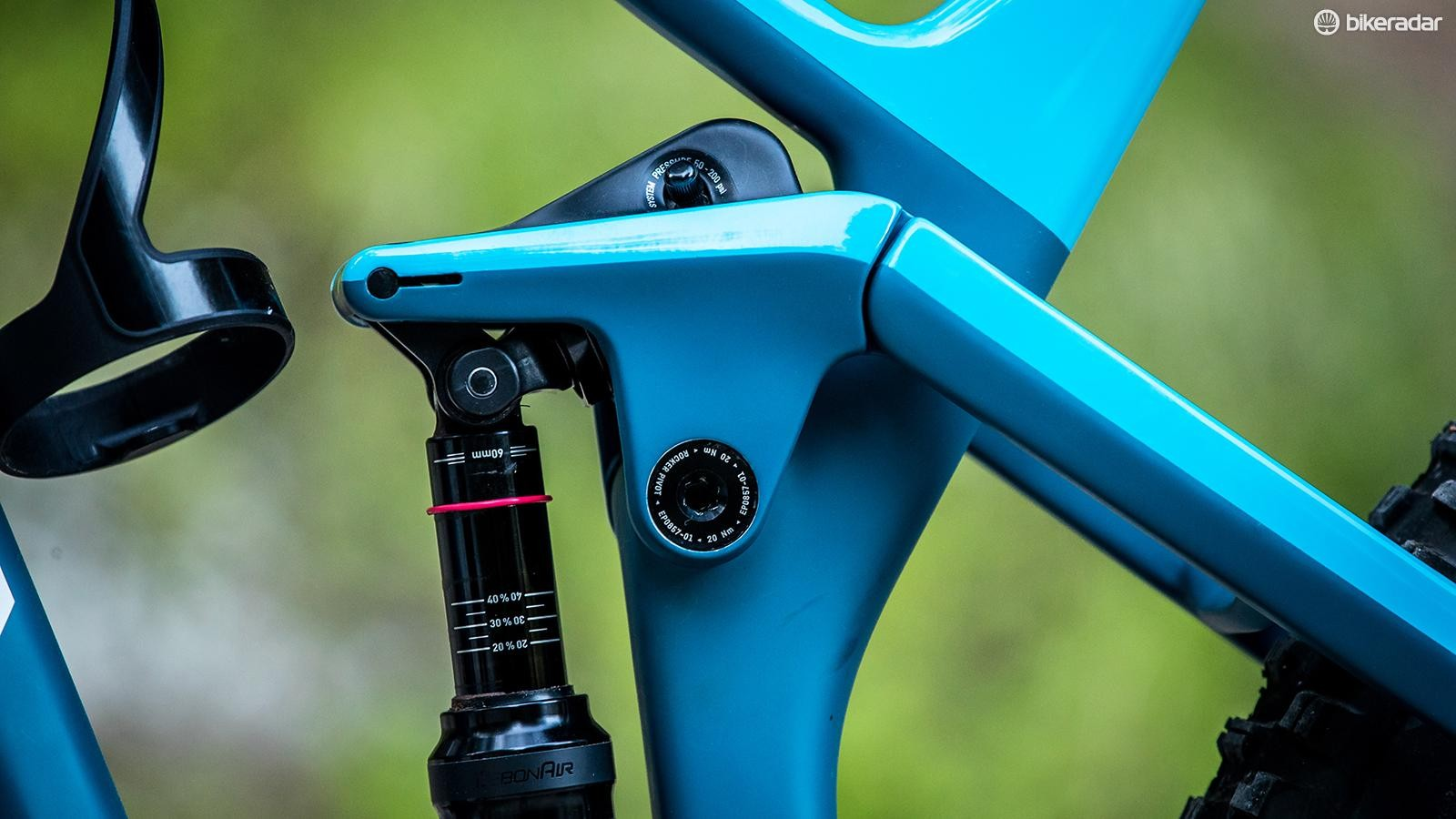 Canyon's Shapeshifter Stage 2.0 piston in its downhill mode position