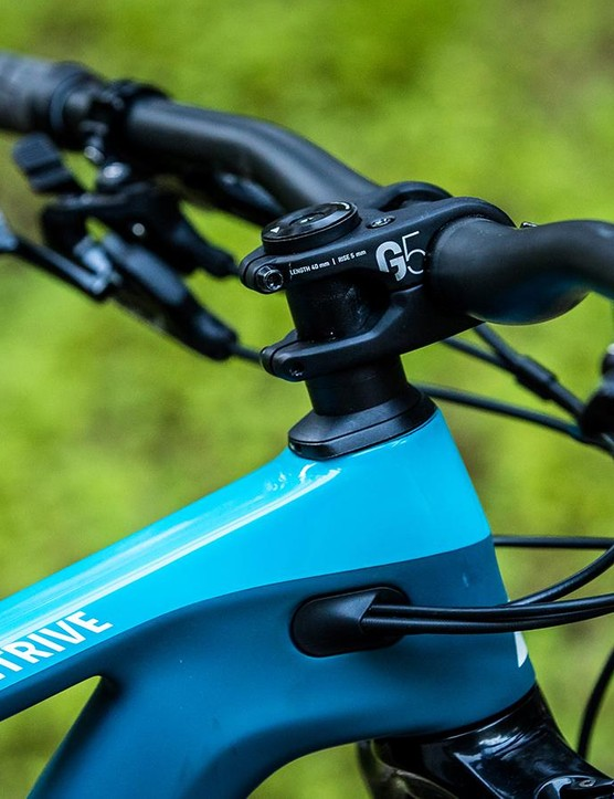 Canyon's own brand G5 bar and stem offer a comfortable feel and ride on the new Strive