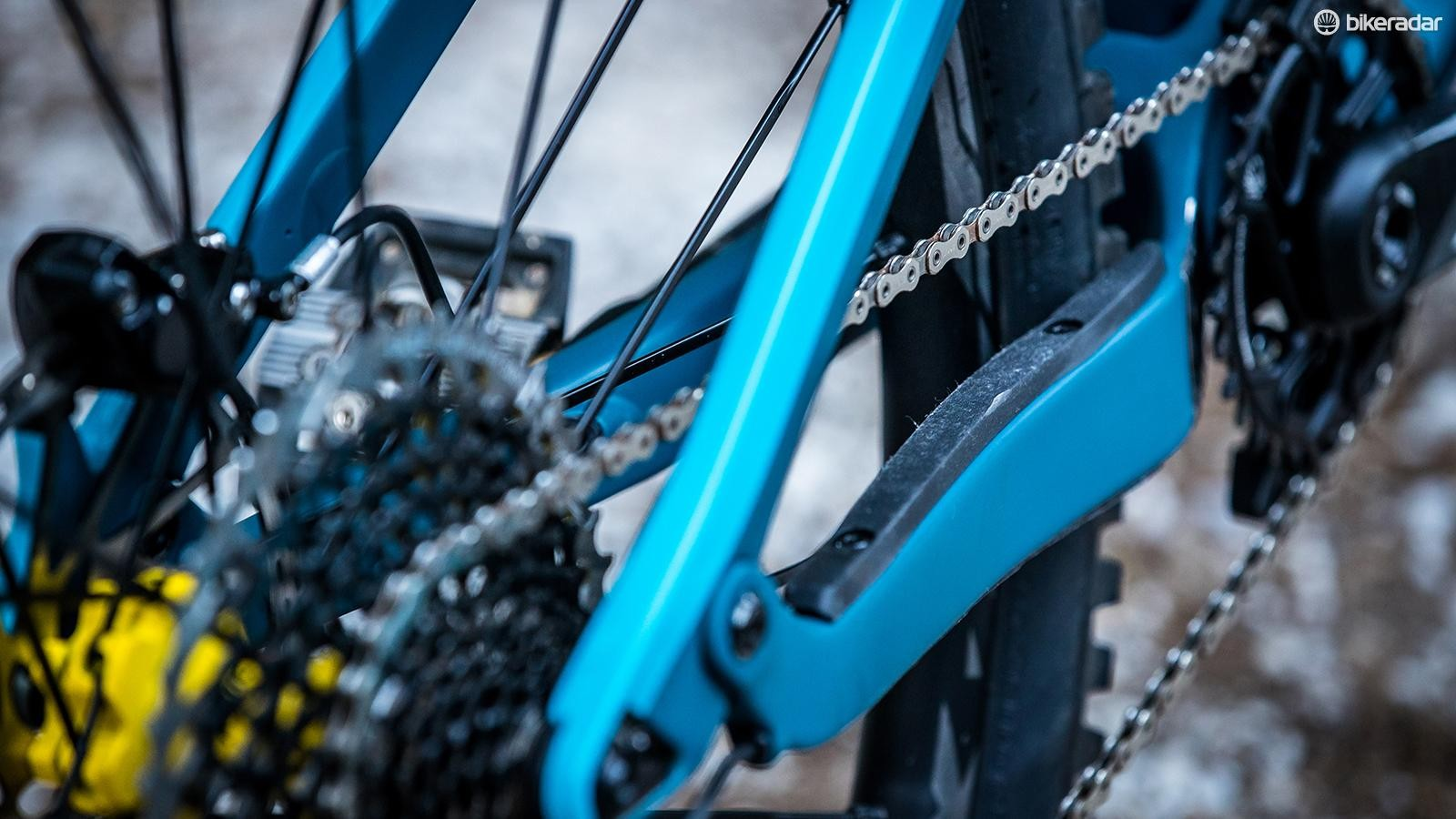 Chainstay protection on the new Strive helps keep the ride quiet