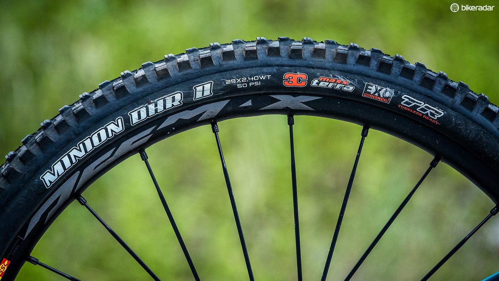 The 29in wheels roll on Maxxis Minion DHR II tyres