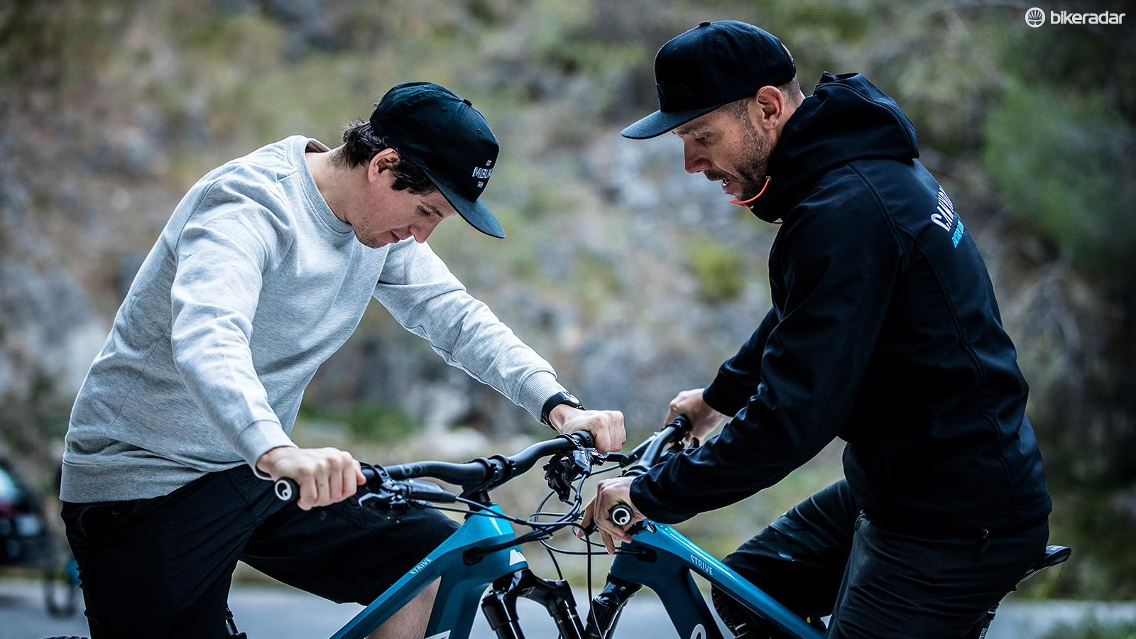 Getting some top setup tips from former downhill world champion and Canyon Factory Racing team principal Fabien Barel