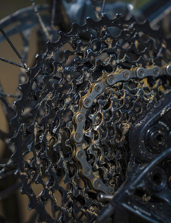 While the 11-speed GX cassette doesn't offer quite the same range as the pricier GX Eagle 12-speed offering, the Torque still managed every climb I pointed it at throughout testing