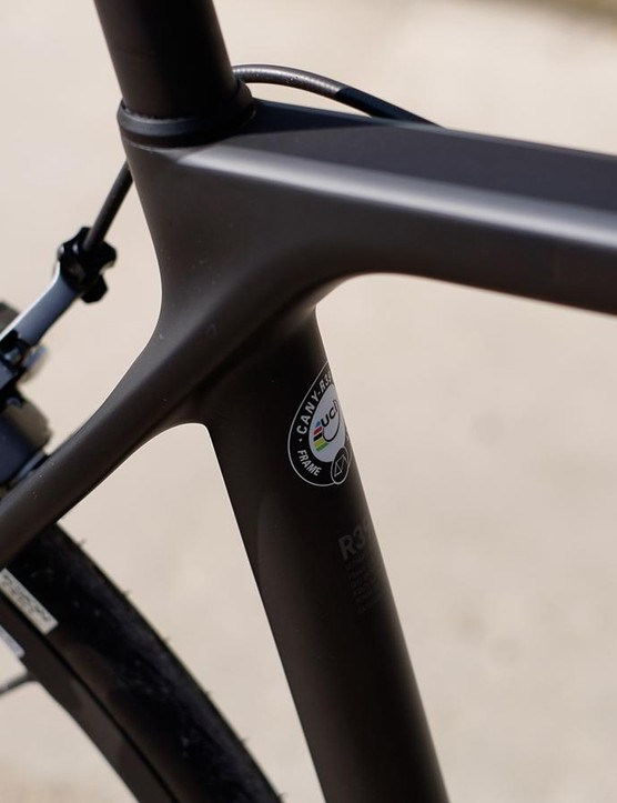 The slim, widely spaced seatstays flow all the way into the flat, wide top tube