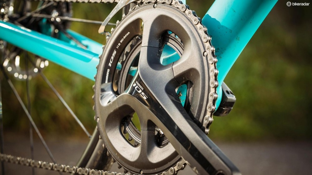 The wide gear range comes courtesy of Shimano 105