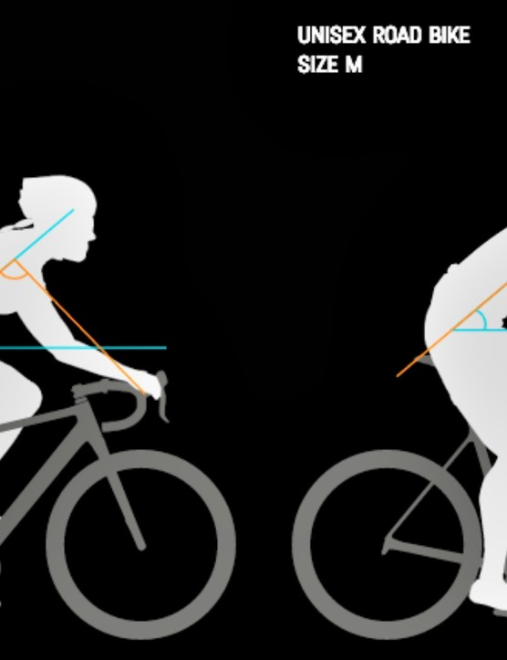 A comparison of the body position on a women's and mens' or unisex Canyon