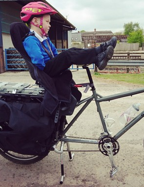 With kids of different ages, a mixture of kit can work well, such as this cargo bike, child seat and tag-along combo