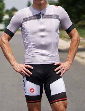 Castelli's Climber's 2.0 Jersey and Inferno Bib Short are light and ultra-breathable