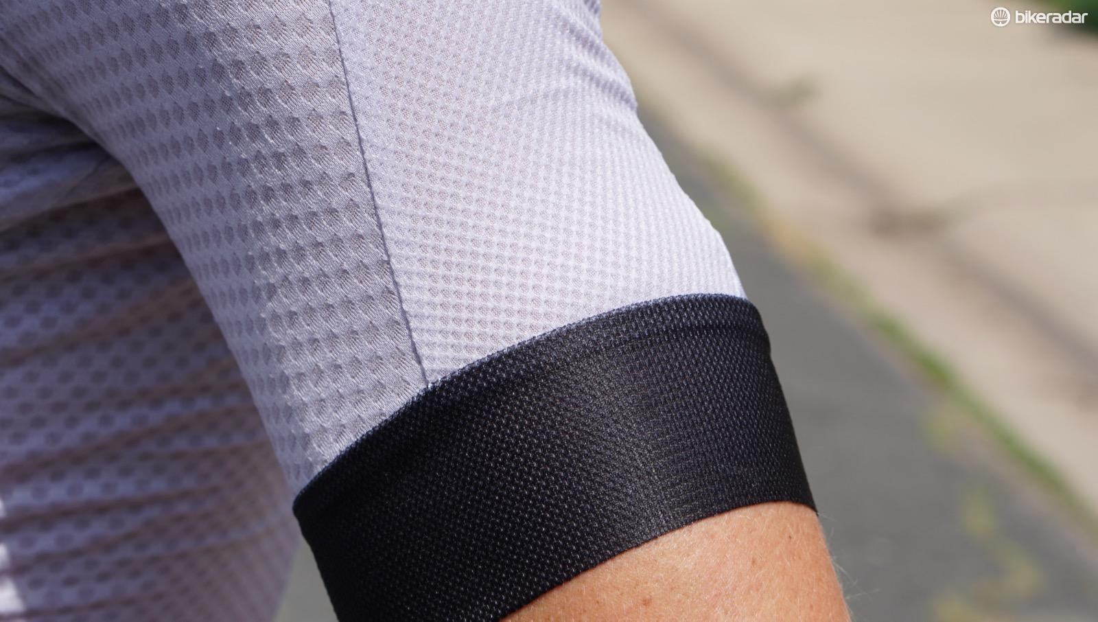 The Climber's 2.0 Jersey sleeves stay in place without squeezing or any silicone