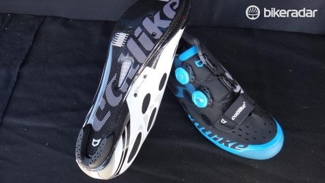 Spain's Catlike brand is celebrating 20 years of making helmets but also produces a line of cycling footwear. The Whisper Road and Whisper Mountain shoes feature Boa closure, carbon soles and retail for $300 and $200 respectively.