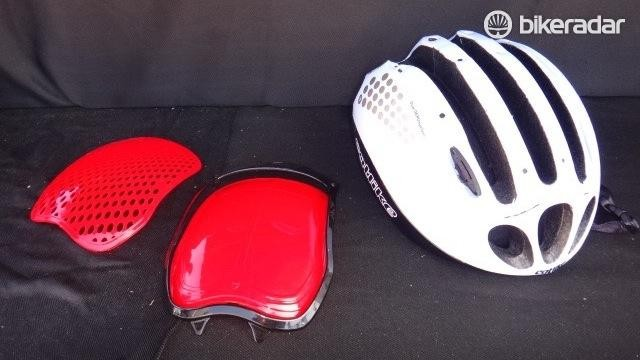 New at Sea Otter was Catlike's Cloud 352 helmet. The aero road helmet ships with two covers for ventilation options.